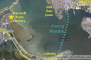 Map of Catano Ferry Route
