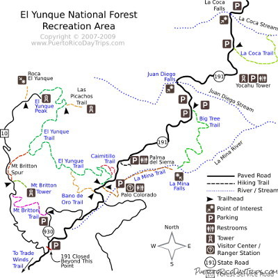 El Yunque Map El Yunque Trail Map | Puerto Rico Day Trips Travel Guide