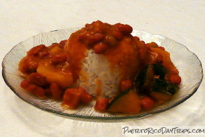 Puerto Rican Arroz con Habichuelas, Rice and Beans