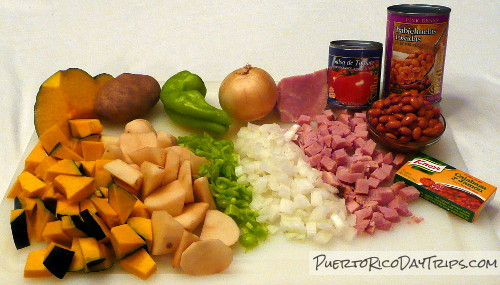 Ingredients for Puerto Rican Arroz con Habichuelas, Rice and Beans