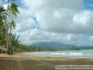 Luquillo Beach with El Yunque in the background