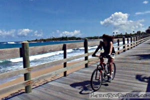 Biking the boardwalk in Pinones