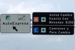Autopista toll signs