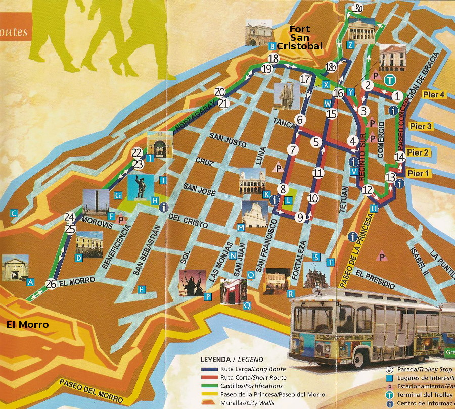 Trolley Map - Tour Old San Juan