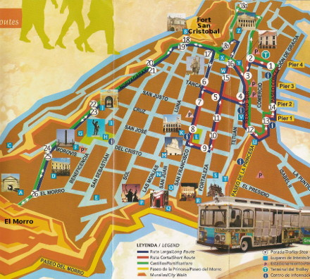 Old San Juan Trolley Map - click to enlarge